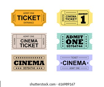 Set of colorful retro cinema tickets on the white background.Vector eps 10