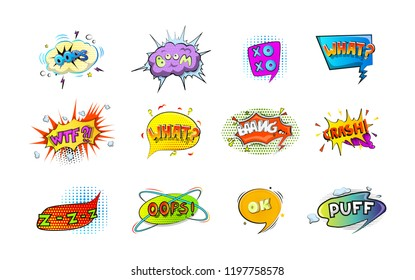 Set of colorful retro comic speech bubble. Cloud with boom effect in pop art style. Bang and crash word. Isolated vector illustration