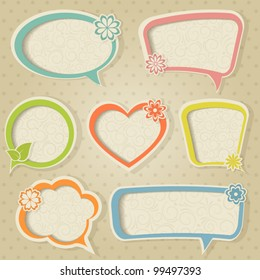 A set of colorful retro frames with flower. Vector illustration. Eps10.