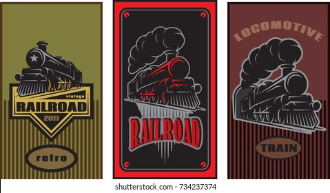 Set of colorful retro posters with a vintage locomotive. Vector illustration.