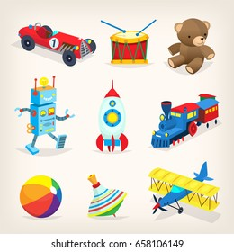 Set of colorful retro toys for children. Isolated vector illustrations for cards, books or posters.