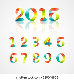 Set of colorful ribbon font. Numbers 0,1,2,3,4,5,6,7,8,9,0. Font of new year 2015. Vector illustration