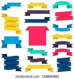 Set of colorful ribbons and banners isolated on white background. - Vector graphics