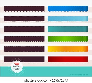 Set of colorful ribbons with zigzag edges.