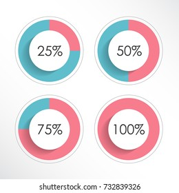 Set of colorful ring percentage diagrams for infographics. 25, 50, 75, 100. Vector illustration