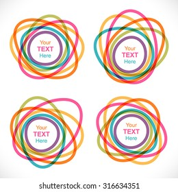 Set of colorful round abstract banners. Global colors - easy to change.