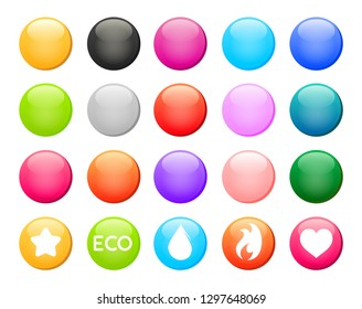 Set of colorful round button icons. Vector design elements with examples on transparent white background.