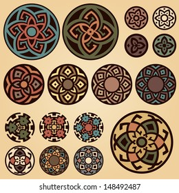 A set of of colorful round geometric designs isolated on beige background. Vector floral symbols and signs illustration. All objects are separated, the can be scaled or recolored without quality loss.