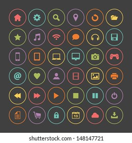 Set of colorful round icons, flat design