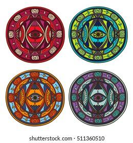 Set of colorful round ornaments. Mandala design. Vector art
