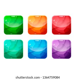 Set of colorful rounded square glossy backgrounds for the app icon with gem, diamond, crystal. Vector asset in cartoon style for web or game design, app icons template isolated on white background.