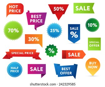Set of colorful sale banners in different shapes.