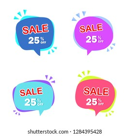 Set of colorful sale icon banners in different shapes. shop product tags. 25% off discount sticker vector.