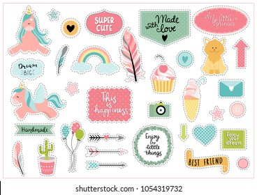 Set of colorful scrapbooking stickers - unicorn, cupcake, ice cream, rainbow etc. with hand written phrases. Ideal for scrapbooking, kids rooms decoration, bullet journals.