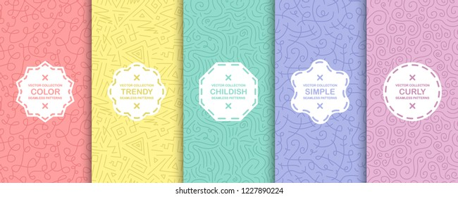 Set of colorful seamless decorative patterns - doodle style. Hand drawn design. Vector bright backgrounds, curly texture