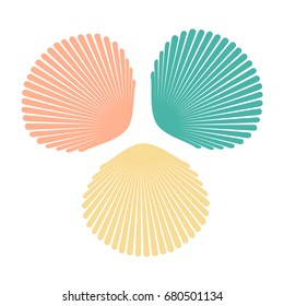 Set of colorful shells in flat style. Vector illustration isolated on white background. EPS10.