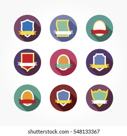 set of colorful shields with ribbons in circle flat design. nine different colorful shields and ribbons template.