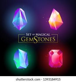 Set of colorful shiny gemstones vector illustration