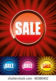 Set of colorful shiny sale buttons, vector illustration