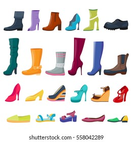 Set of colorful shoes and boots for women and men. Vector illustration. Collection for shops and fashion. Cartoon flat style
