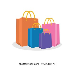 Set of Colorful Shopping Bag in vector form. Commerce Bag, shopping bag vector, Colorful paper bag on white background.