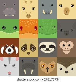set of colorful simple animal faces