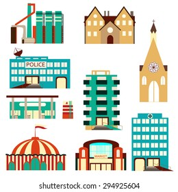 Set of colorful simple buildings isolated on white. Factory, private house, apartment building, police station, gasoline station, circus, market, church. Vector illustration