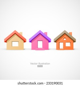 Set of colorful simple house. Easy to change colors.