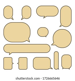 Set colorful speech bubbles on a white background.