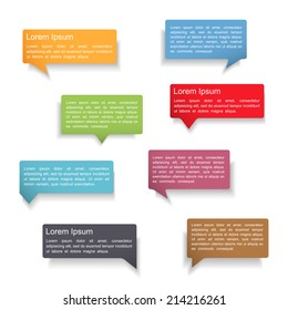 Set of colorful speech bubbles with shadows on white background, vector eps10 illustration