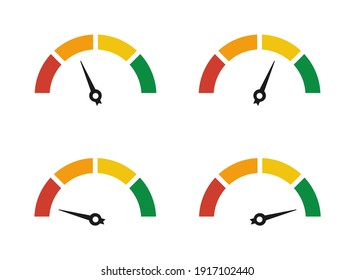 Set of colorful speedometers, ratings of varying degrees of satisfaction. Ratings of different quality levels