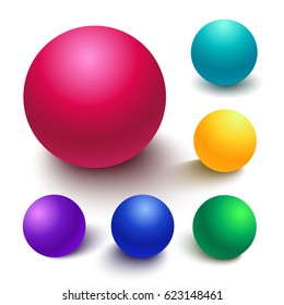 Set of colorful spheres, matte finish ball with diferent light effects and shadows isolated on a white background for design elements