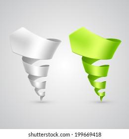 Set of colorful spiral arrows 3D.  Vector illustration