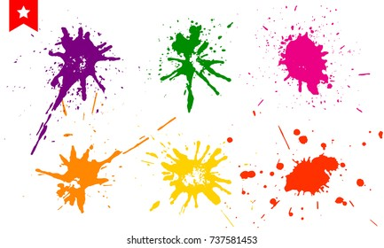 Set of colorful splashes, paint drops and ink stains