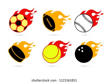 Set of colorful sport balls icons with red fire flames. Isolated on white background. Vector illustration, eps 8.