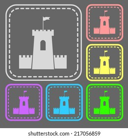 Set of colorful square buttons. Vector icon. flat illustration