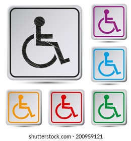 Set of colorful square button.Vector illustration  Disabled icon. Human on wheelchair symbol. Handicapped invalid sign.