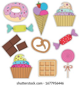 a set of colorful stickers with cake, ice cream , cupcakes, candy, donuts, chocolate, waffles, pretzel, Lollipop and other desserts. Sweet dessert . Isolated vector with cutting contour