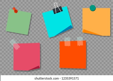 Set colorful stickers. Stickers with pins, magnets, scotch. Isolated. Flat style. Vector illustration