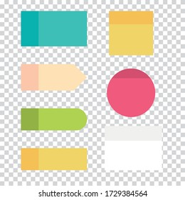 Set of colorful sticky notepads. Memo papers notes isolated on transparent background. Paper reminder vector illustration.