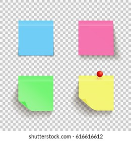 Set of colorful sticky notes with curled corner and red pin on transparent background. Paper. Vector.