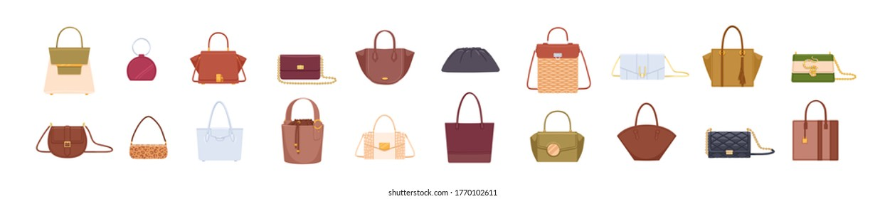 Set of colorful stylish cartoon women bags isolated on white background. Collection of luxury modern leather accessory, cross body, purses, clutches, tote, hobo, handbag flat vector illustration