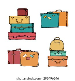 Set of Colorful Suitcases. Collection of travel suitcases. Suitcases. Vector illustration
