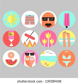 Set of colorful summer and beach icons.