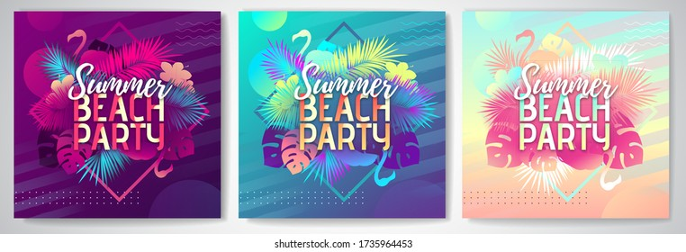 Set of Colorful summer beach party posters  with fluorescent tropic leaves and flamingo. Summertime background