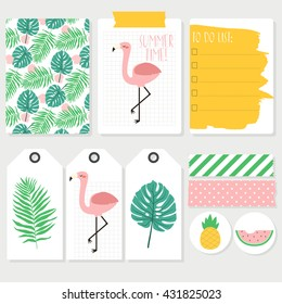 Set of colorful summer cards, labels and tapes with flamingos. Lovely summer design. Template for scrap booking, wrapping, congratulations, invitations, printable card.