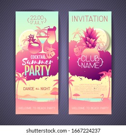 Set Colorful summer cocktail party posters with fluorescent tropic leaves, pineapple and flamingo. Invitation design. Summertime beach background