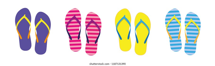 set with colorful summer flip flops for beach holiday vector illustration EPS10
