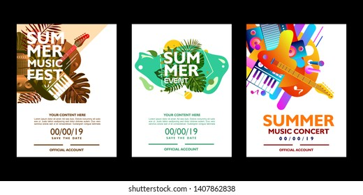 Set of colorful summer poster design template. For music event, festival and concert on white background