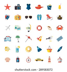Set of colorful summer vacation, beach, seaside marine isolated icons. Flat style design. Vector illustration.